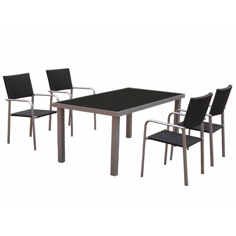gartentisch 160 cm x 90 cm mit schwarzer glasplatte kaufen bei obi. Black Bedroom Furniture Sets. Home Design Ideas