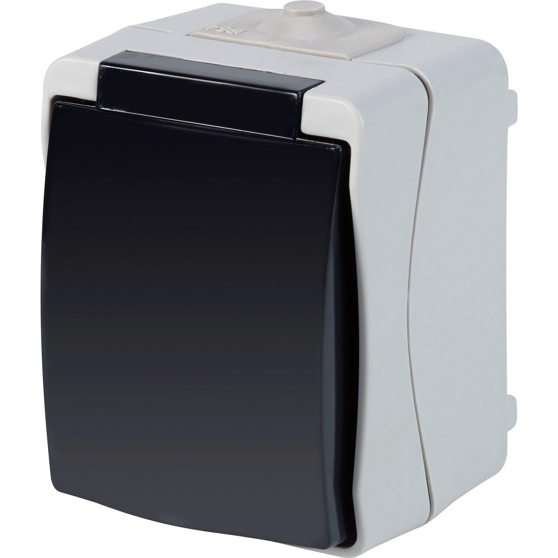 Feuchtraum Steckdose 1-fach IP54 Grau