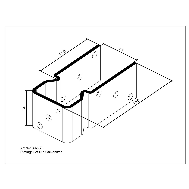 Relativ Pfostenträger U-Form zum Aufschrauben 150 mm x 71 mm x 60 mm HB46