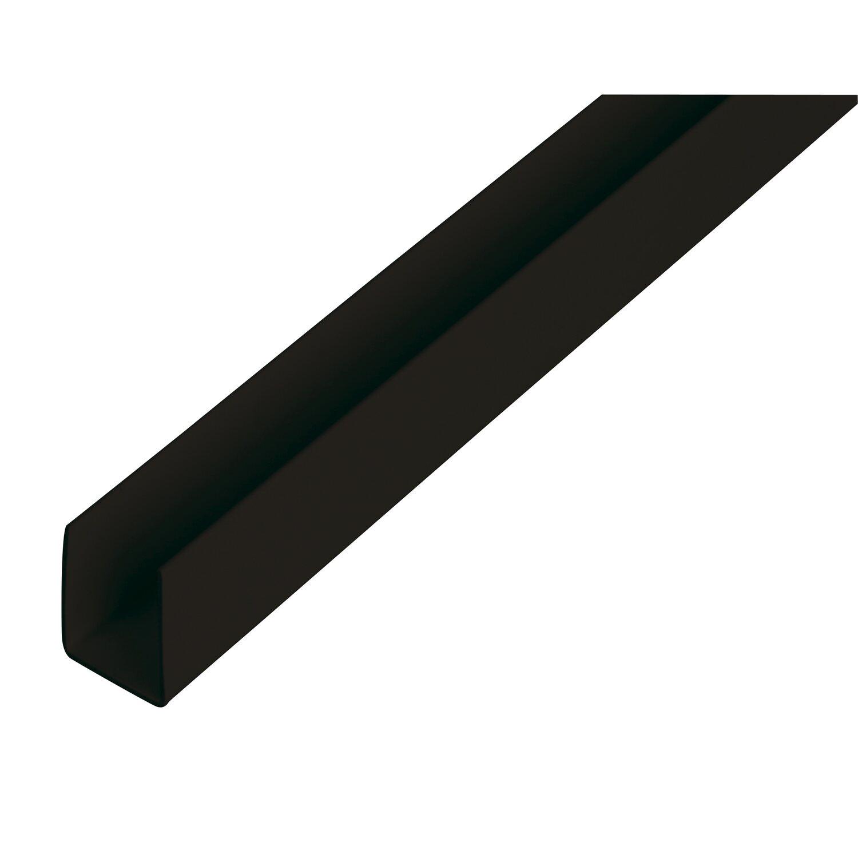 U-Profil Schwarz 10 mm x 21 mm x 2600 mm
