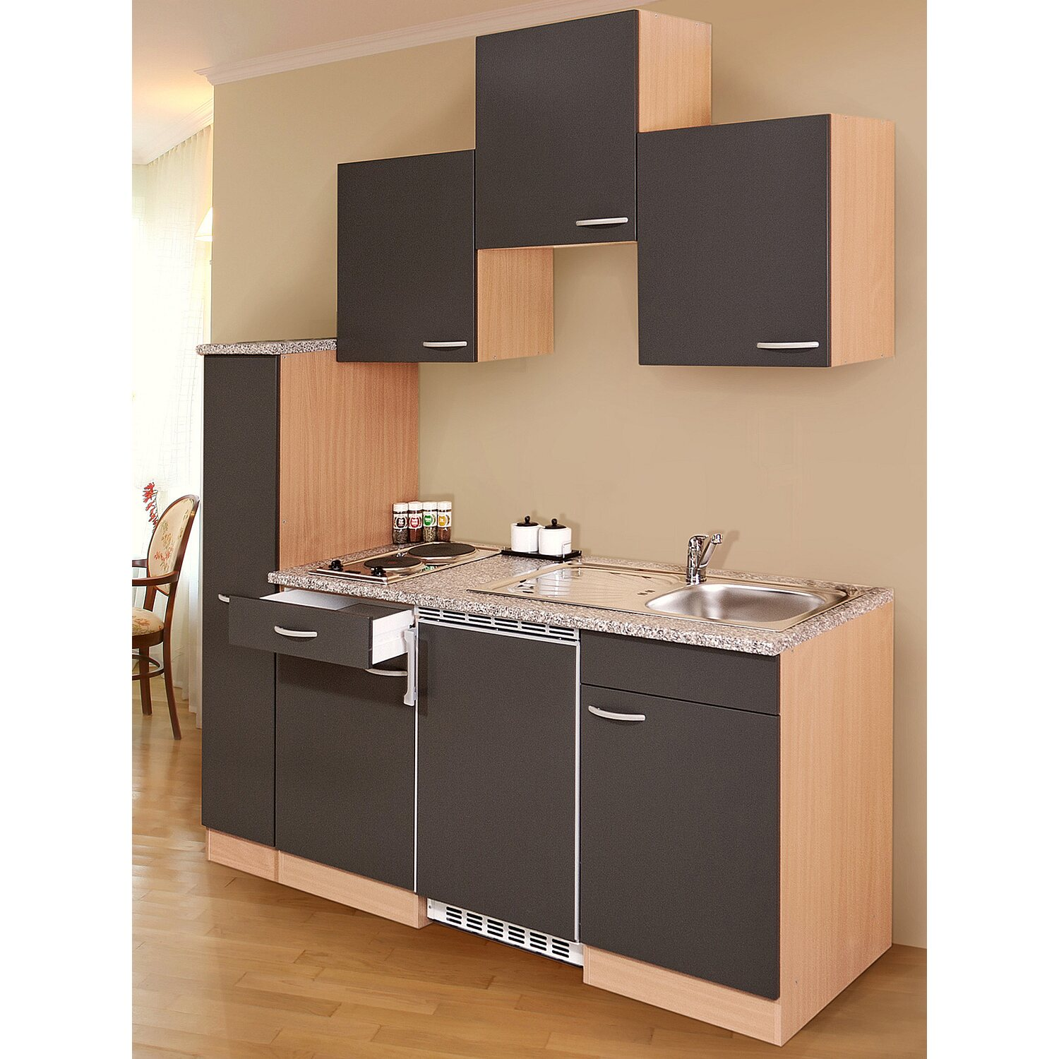 respekta k chenzeile kb180bg 180 cm grau buche nachbildung. Black Bedroom Furniture Sets. Home Design Ideas