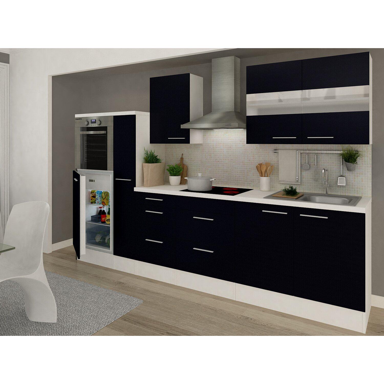respekta premium k chenzeile rp300hws 300 cm schwarz wei. Black Bedroom Furniture Sets. Home Design Ideas