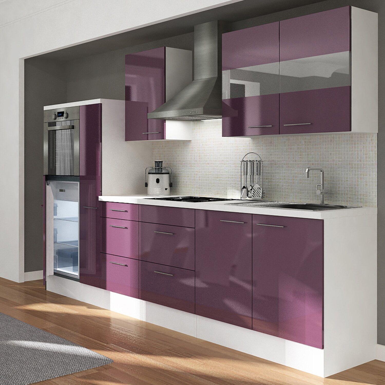 respekta premium k chenzeile rp300hwau 300 cm aubergine wei kaufen bei obi. Black Bedroom Furniture Sets. Home Design Ideas