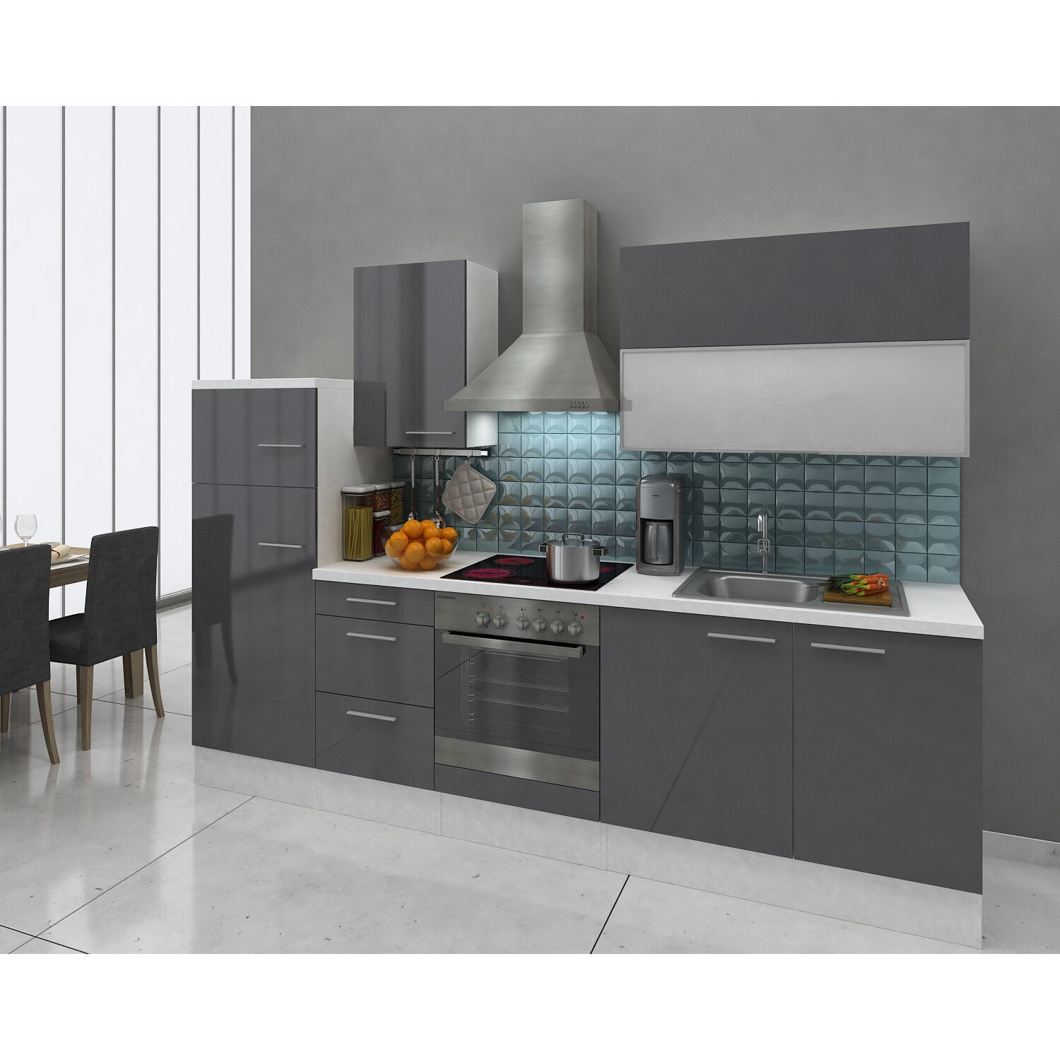 respekta premium k chenzeile rp280wgcgke 280 cm grau wei kaufen bei obi. Black Bedroom Furniture Sets. Home Design Ideas