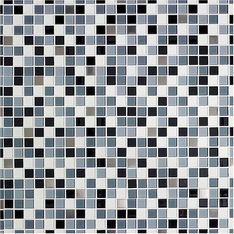 Glasmosaikmatte Schwarz Selbstklebend 30 cm x 30 cm