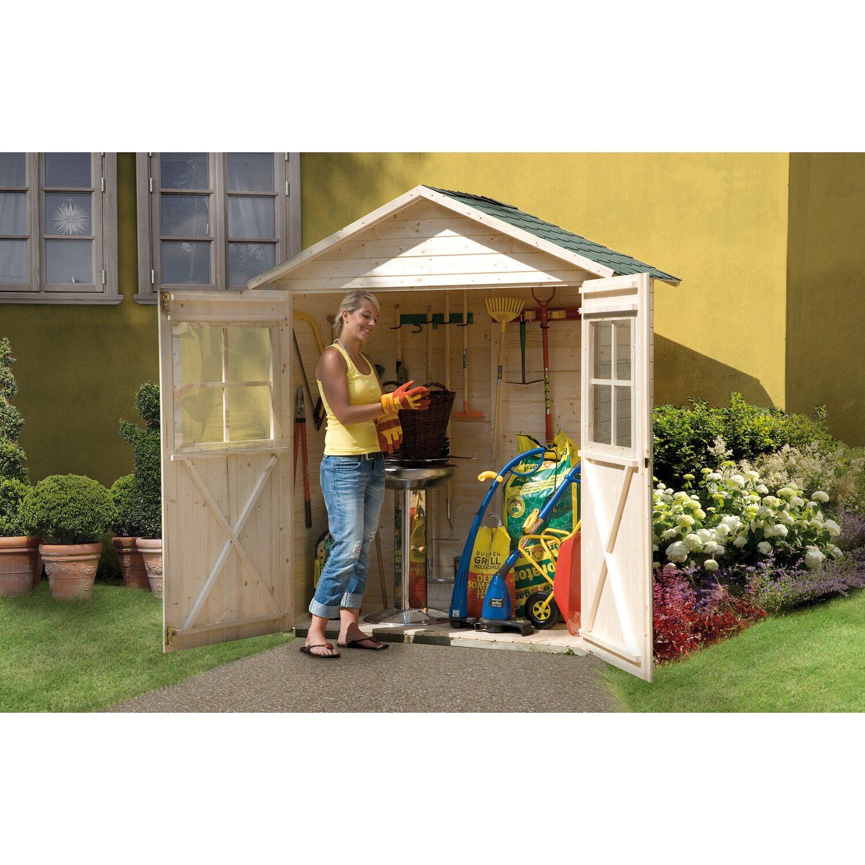 weka balkon und terrassenschrank mit satteldach gr 2 163. Black Bedroom Furniture Sets. Home Design Ideas