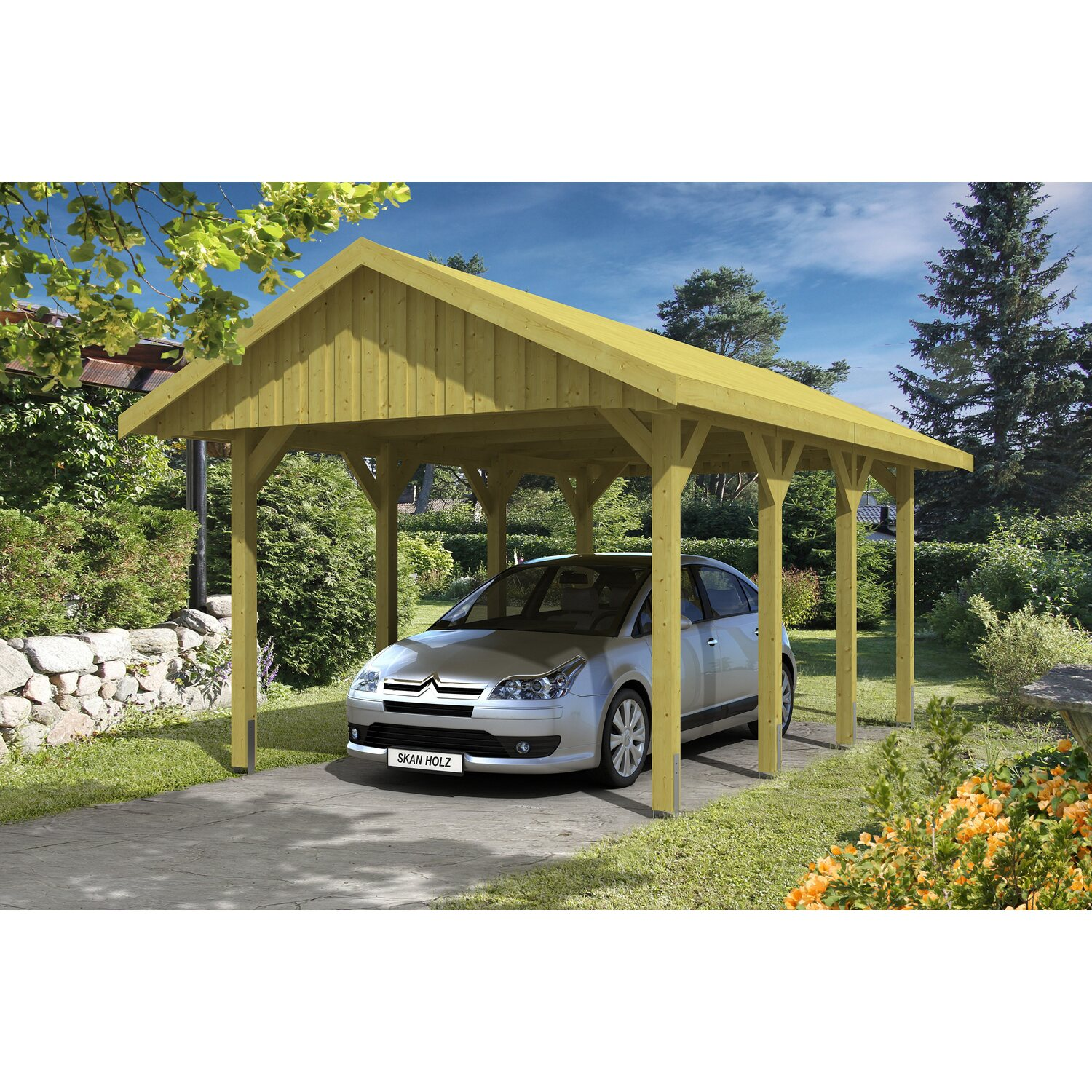 skan holz satteldach carport sauerland 380 cm x 600 cm dachschalung kaufen bei obi. Black Bedroom Furniture Sets. Home Design Ideas