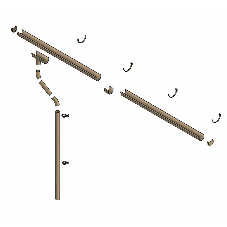skan holz kunststoff-regenrinne 800 cm für satteldach-carport braun