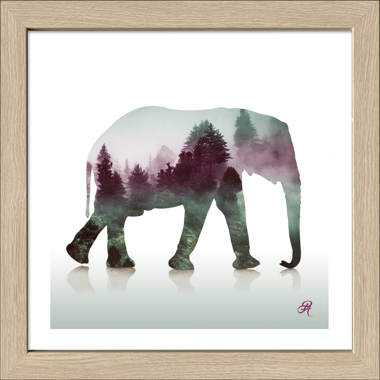 bild mit rahmen ornamental elephant 34 cm x 34 cm kaufen bei obi. Black Bedroom Furniture Sets. Home Design Ideas