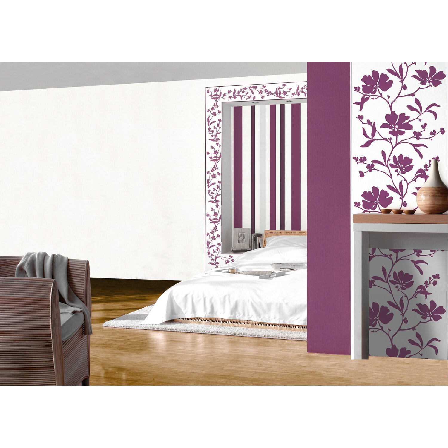 sch ner wohnen kollektion vliestapete streifen violett kaufen bei obi. Black Bedroom Furniture Sets. Home Design Ideas