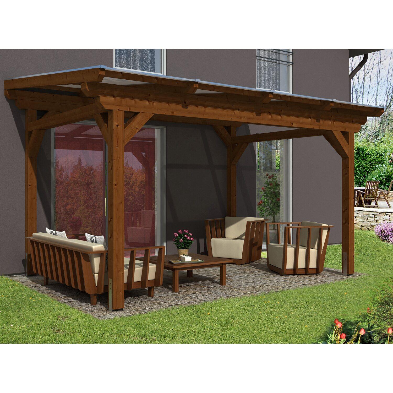 skan holz terrassen berdachung sanremo 434 x 350 cm leimholz nussbaum kaufen bei obi. Black Bedroom Furniture Sets. Home Design Ideas