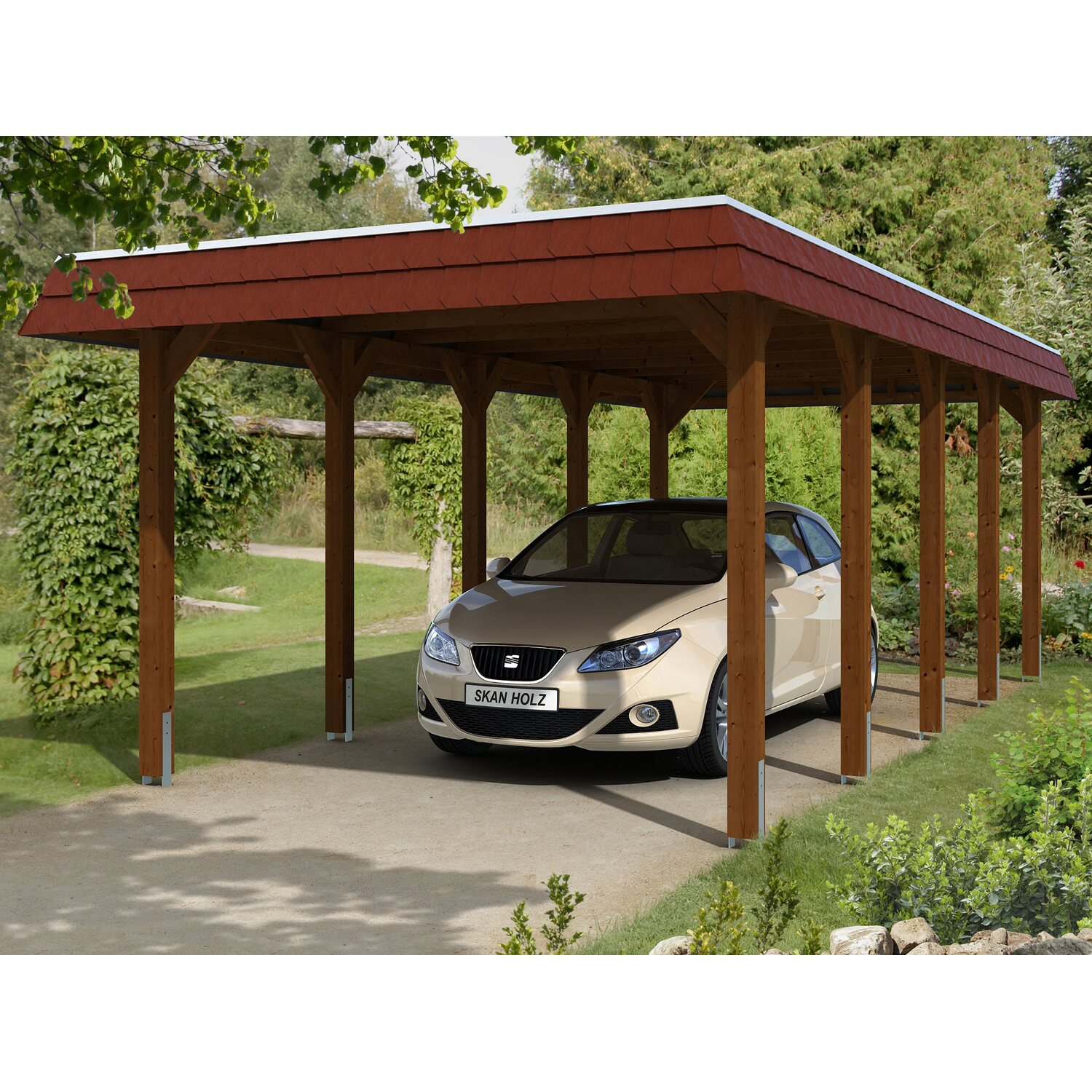 skan holz carport spreewald 345 cm x 741 cm rote blende nussbaum kaufen bei obi. Black Bedroom Furniture Sets. Home Design Ideas