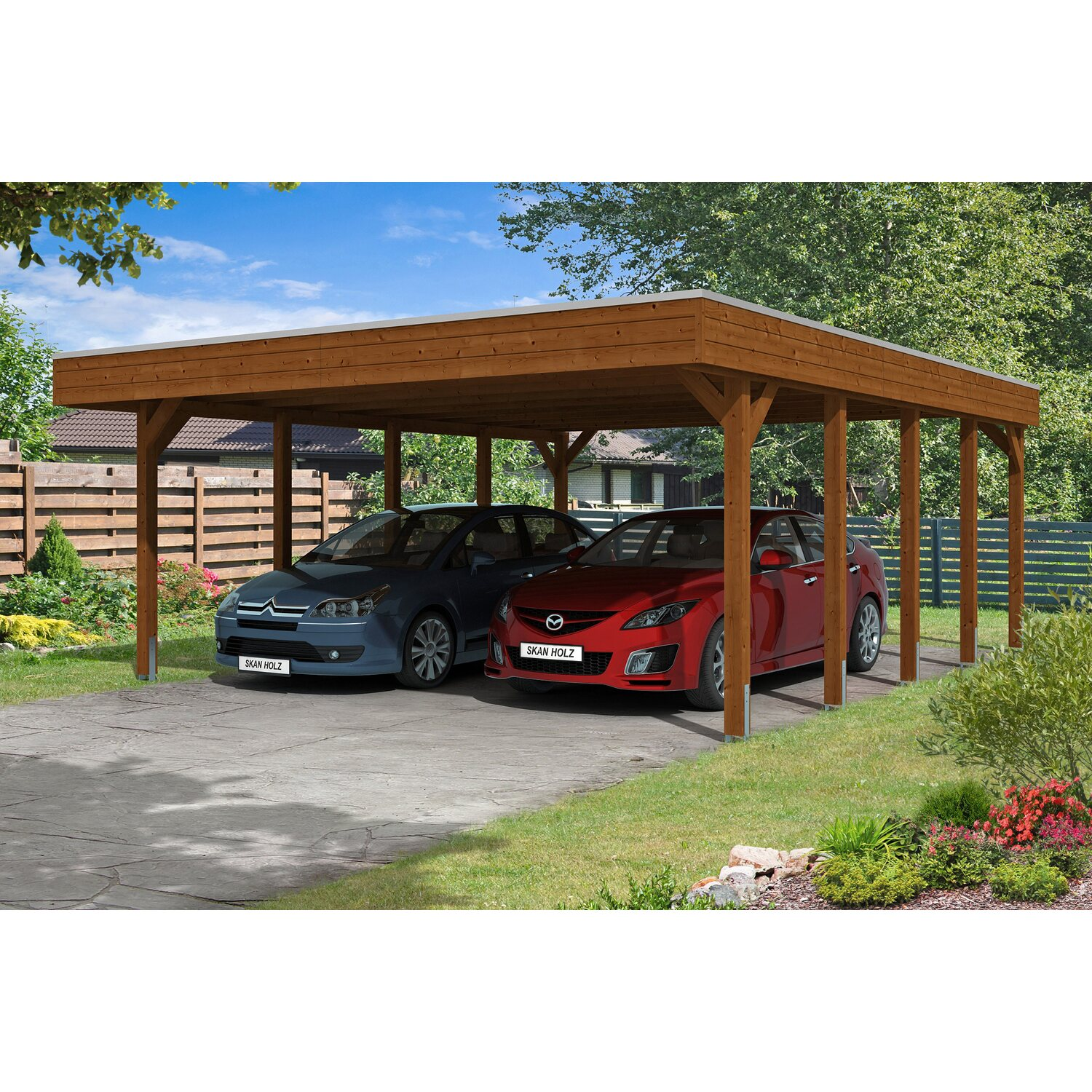 skan holz carport friesland 557 cm x 708 cm nussbaum kaufen bei obi. Black Bedroom Furniture Sets. Home Design Ideas