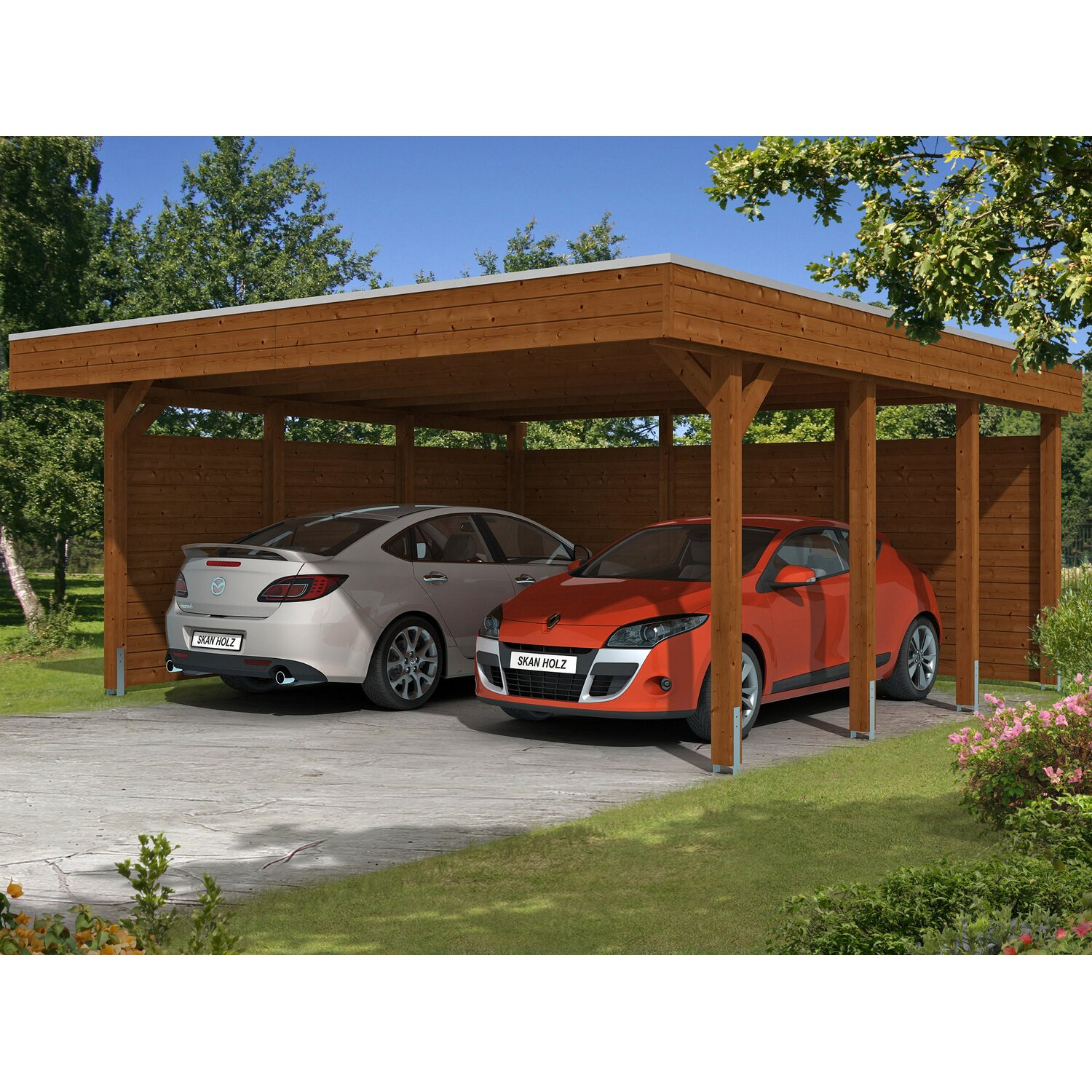 skan holz carport friesland set 3 557 cm x 555 cm nussbaum kaufen bei obi. Black Bedroom Furniture Sets. Home Design Ideas