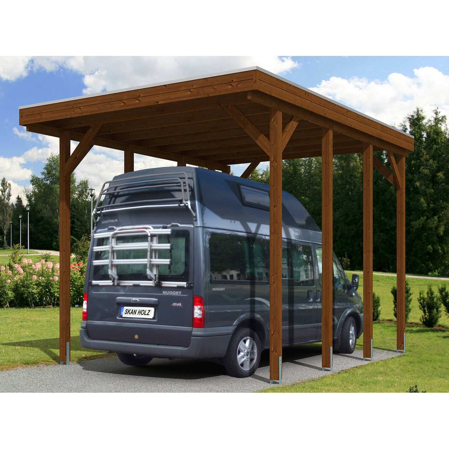 skan holz carport friesland caravan 397 cm x 555 cm nussbaum kaufen bei obi. Black Bedroom Furniture Sets. Home Design Ideas