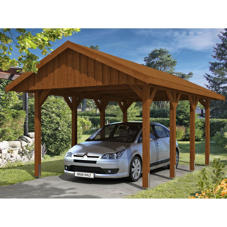 skan holz satteldach carport sauerland 380 cm x 600 cm nussbaum kaufen bei obi. Black Bedroom Furniture Sets. Home Design Ideas