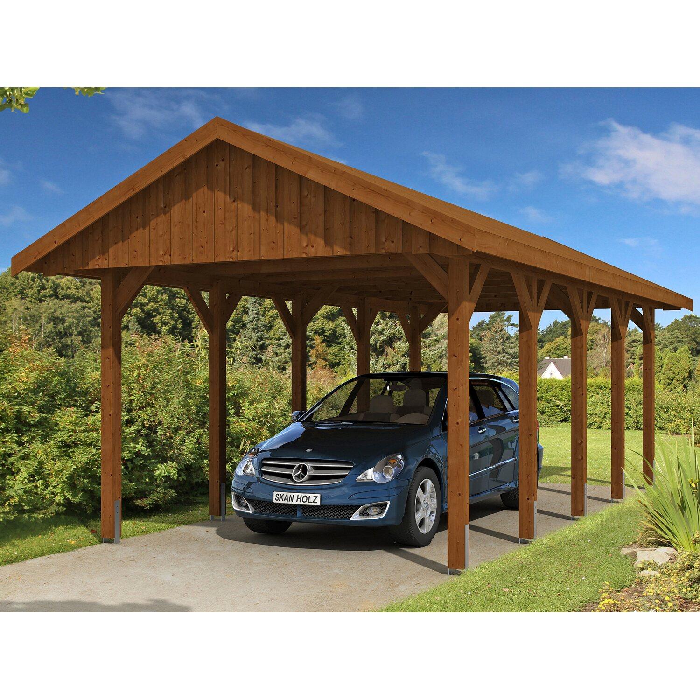 Skan Holz Satteldach Carport Sauerland 380 Cm X 750 Cm Nussbaum Kaufen Bei Obi