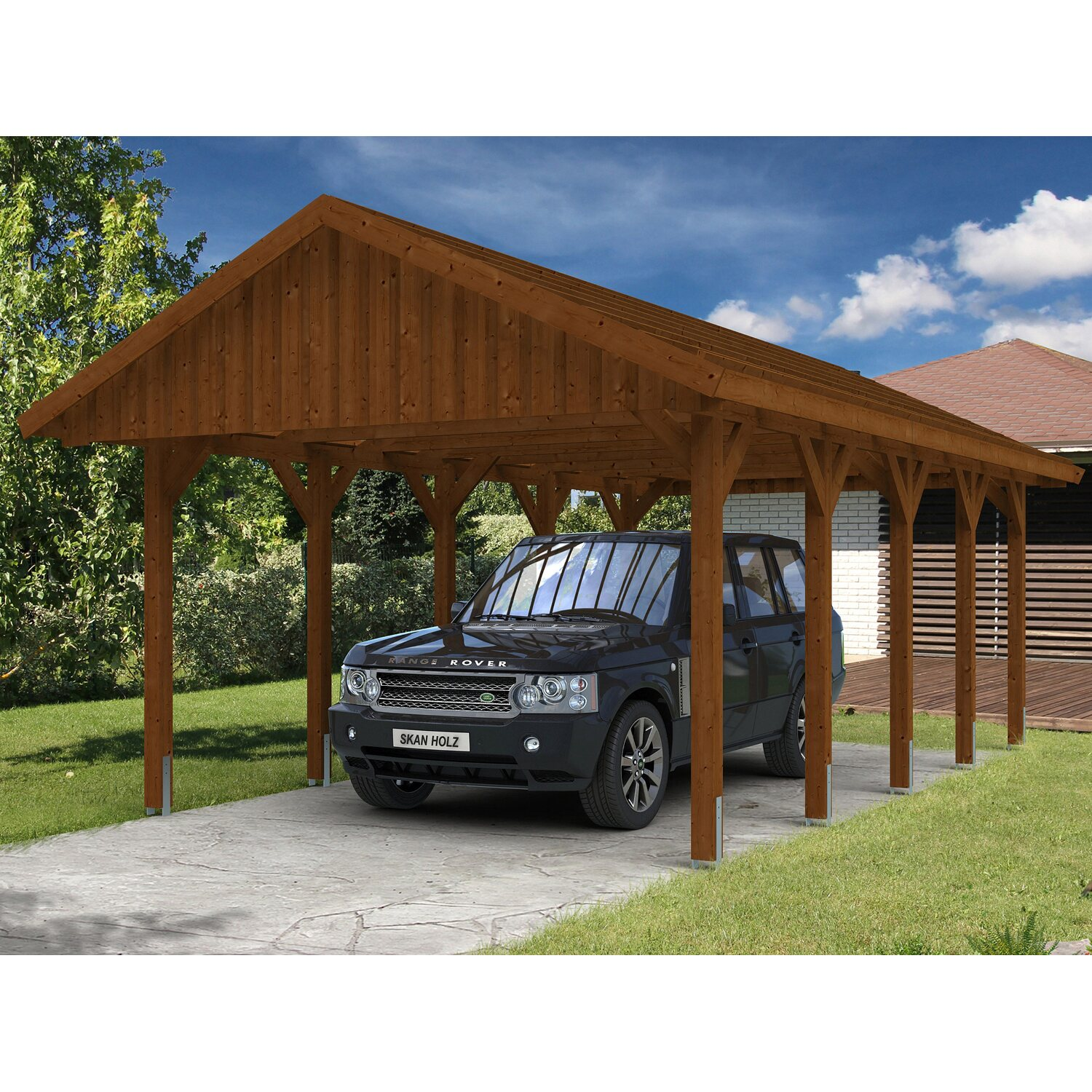 skan holz satteldach carport sauerland 430 cm x 750 cm nussbaum kaufen bei obi. Black Bedroom Furniture Sets. Home Design Ideas