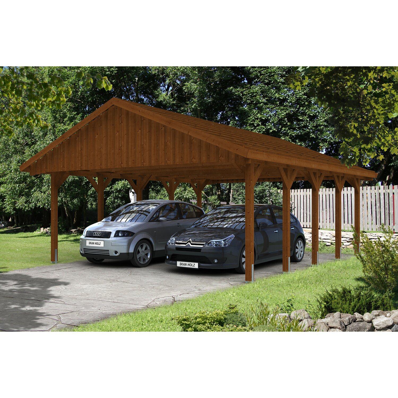 Skan Holz Satteldach-Carport Sauerland 620 cm x 750 cm Nussbaum Preisvergleich