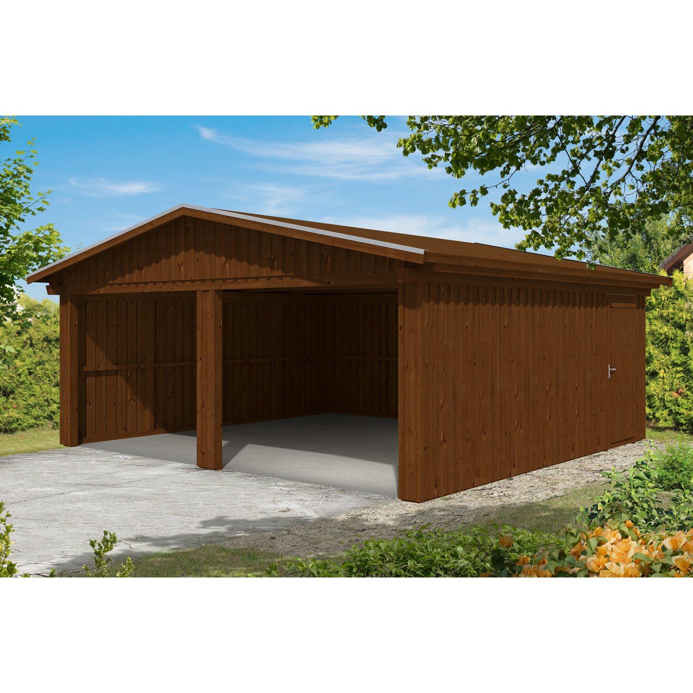 skan holz holzgarage falun 579 cm x 549 cm mit schalung nussbaum kaufen bei obi. Black Bedroom Furniture Sets. Home Design Ideas