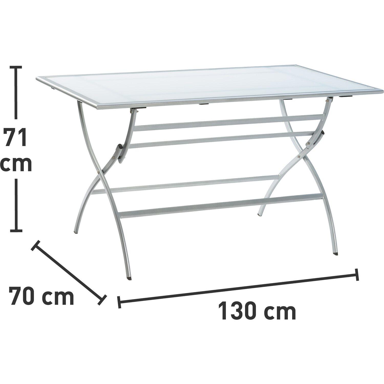 klapptisch mit glasplatte grau silber 130 cm x 70 cm kaufen bei obi. Black Bedroom Furniture Sets. Home Design Ideas