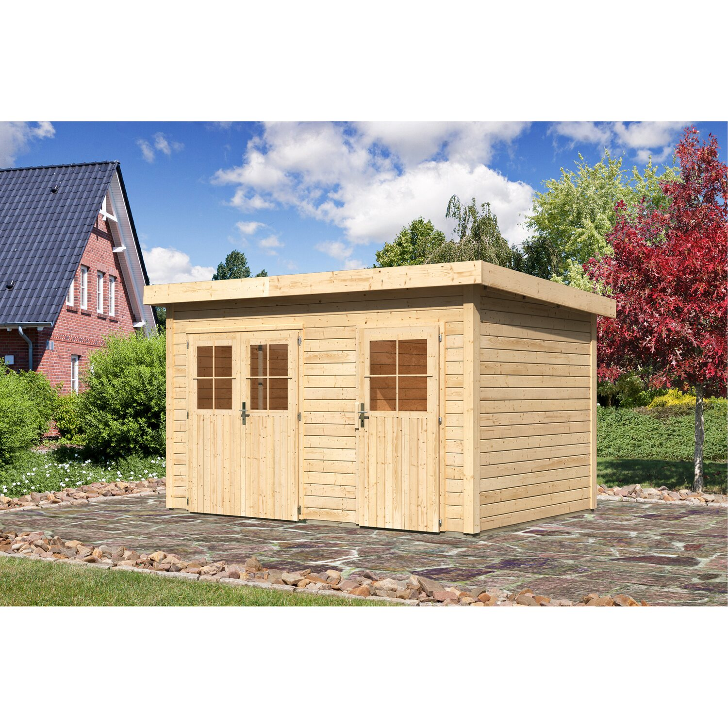 karibu holz gartenhaus skanderborg mit mittelwand boden u folie bxt 360x240cm kaufen bei obi. Black Bedroom Furniture Sets. Home Design Ideas
