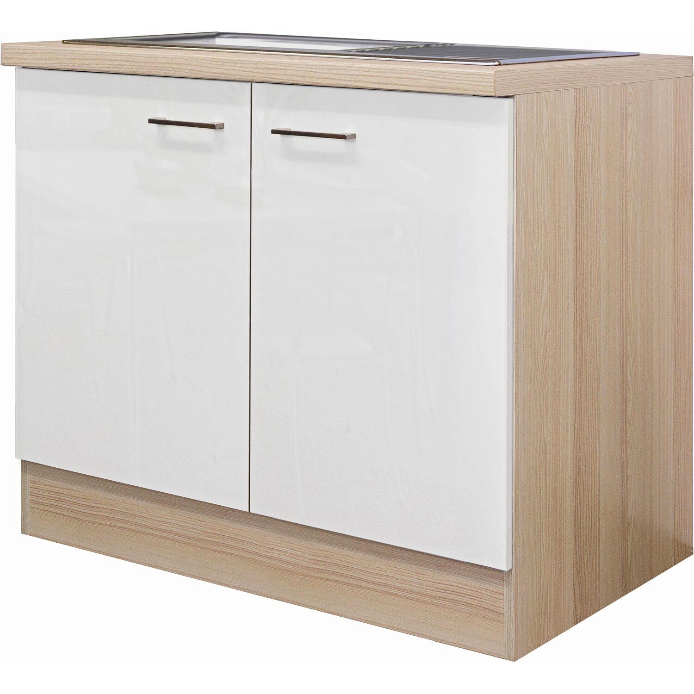 flex well exclusiv sp lenunterschrank abaco 100 cm perlmutt gl nzend akazie kaufen bei obi. Black Bedroom Furniture Sets. Home Design Ideas