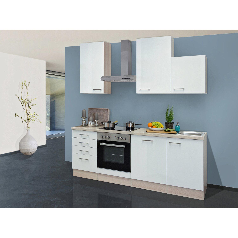 flex well exclusiv k chenzeile abaco 220 cm perlmutt gl nzend akazie nachbildung kaufen bei obi. Black Bedroom Furniture Sets. Home Design Ideas