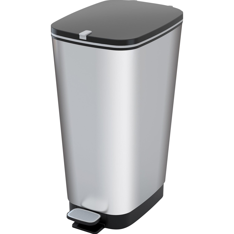 Tret-Mülleimer 42 l Silber