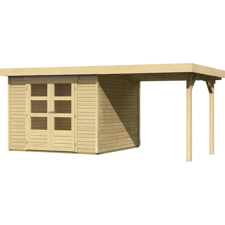 karibu holz gartenhaus boras 4 set mit schleppdach natur 302 cm x 217 cm kaufen bei obi. Black Bedroom Furniture Sets. Home Design Ideas