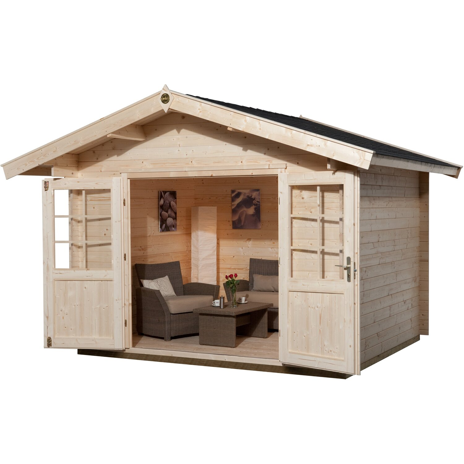 weka holz gartenhaus ferrara 1 naturbelassen bxt 250 cm x 250 cm kaufen bei obi. Black Bedroom Furniture Sets. Home Design Ideas