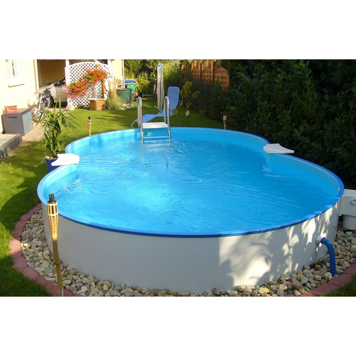 Stahlwand pool set cannes aufstellbecken achtform 625 cm x for Obi pool set