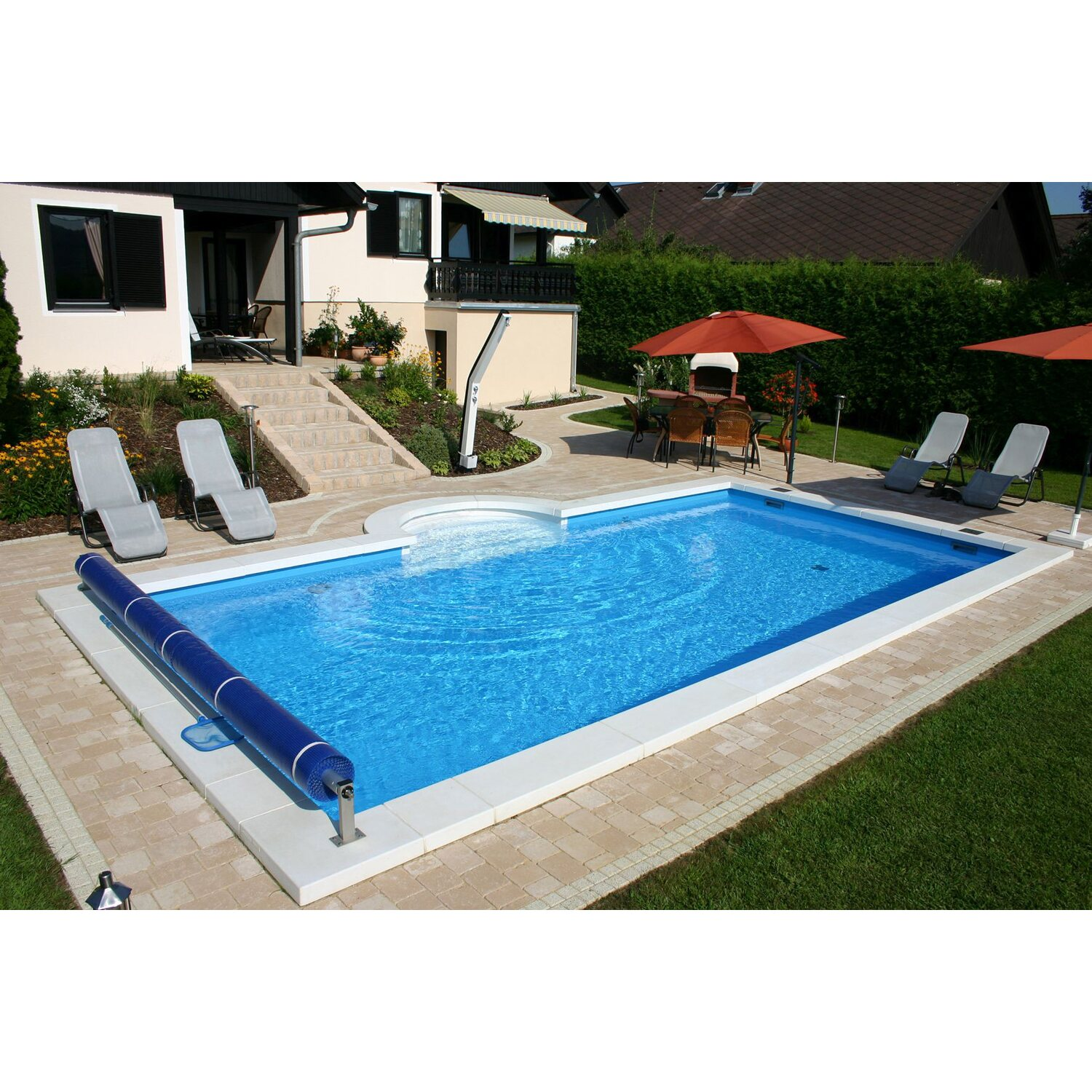 Summer fun styropor pool set lugano einbaubecken 700 cm x for Obi pool set