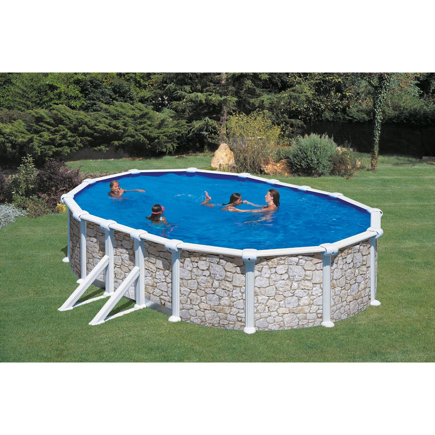 Holzpool set natur santo domingo aufstellbecken oval 533 for Holzpool obi