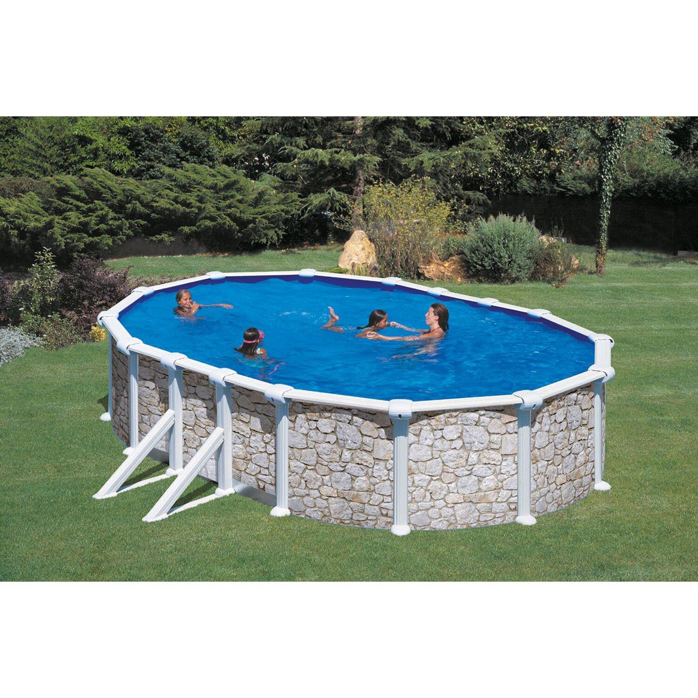 Stahlwand pool set sein dekor aufstellbecken ovalform 610 for Garten pool stahlwand