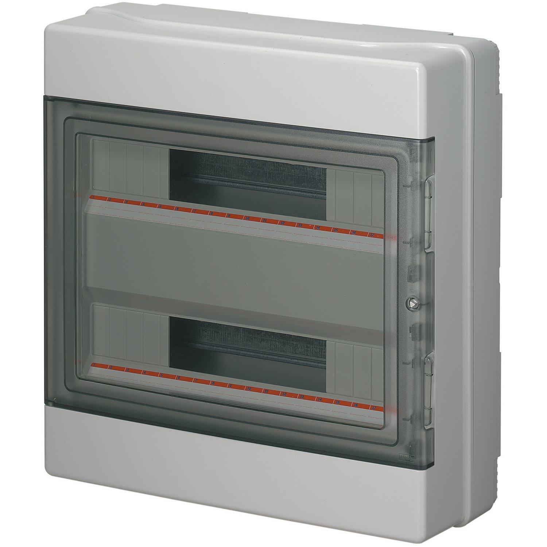 e2 elektro aufputz pvc verteiler mit t r 2 reihig grau. Black Bedroom Furniture Sets. Home Design Ideas