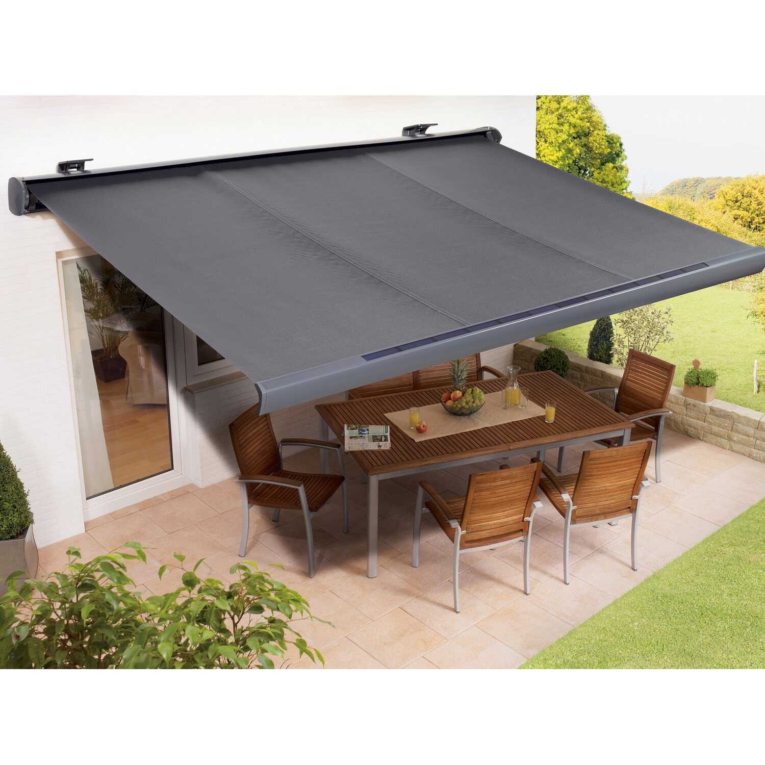 Top OBI Solarbetriebene Vollkassettenmarkise 300 cm x 200 cm Anthrazit  PS57