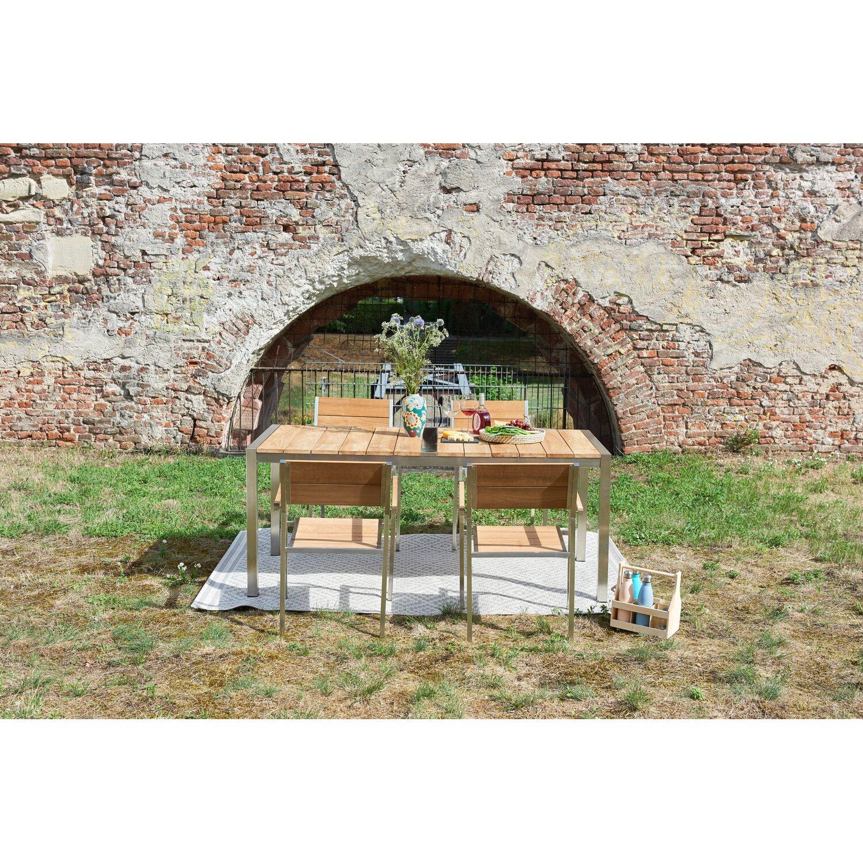 Greemotion Gartentisch San Diego Teakholz 75 cm x 180 cm x 88 cm ...