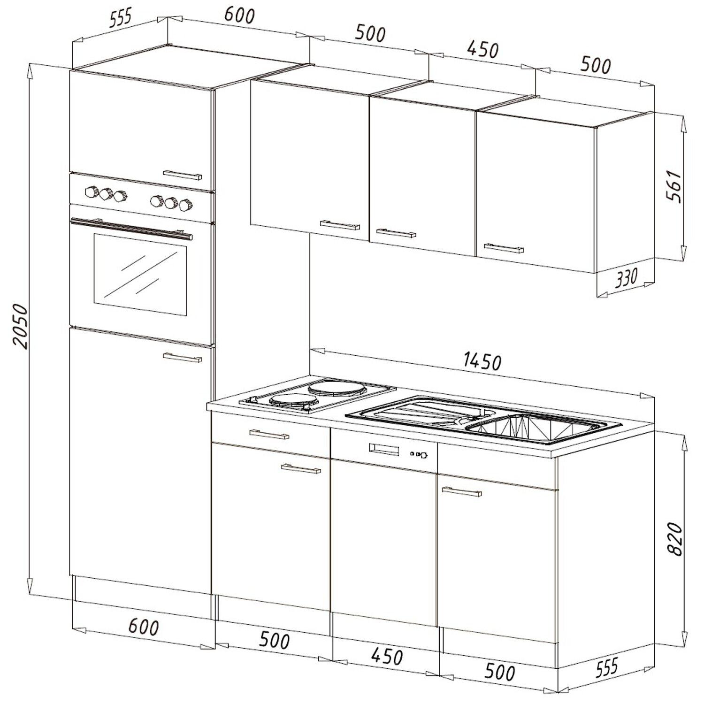 respekta k chenzeile 205 cm wei eiche york kaufen bei obi. Black Bedroom Furniture Sets. Home Design Ideas