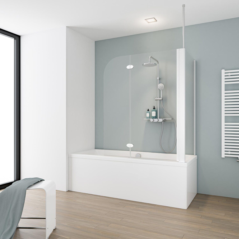 Schulte Badewannenaufsatz 2 Teilig Mit Seitenwand 114 5 Cm X 140 Cm Echtglas Kaufen Bei Obi