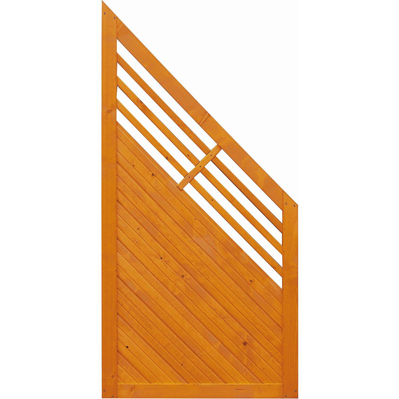 Sonstige Sichtschutzzaun Anschlusselement Manhattan Pinienfarben 180 x 90 cm auf 90 cm