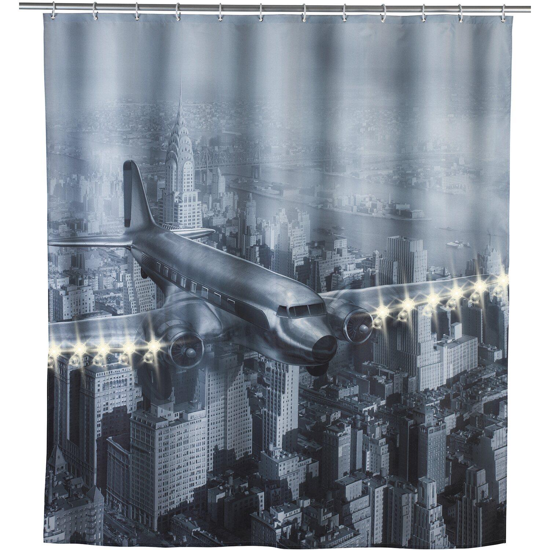 wenko led polyester duschvorhang old plane 180 cm x 200 cm kaufen bei obi. Black Bedroom Furniture Sets. Home Design Ideas