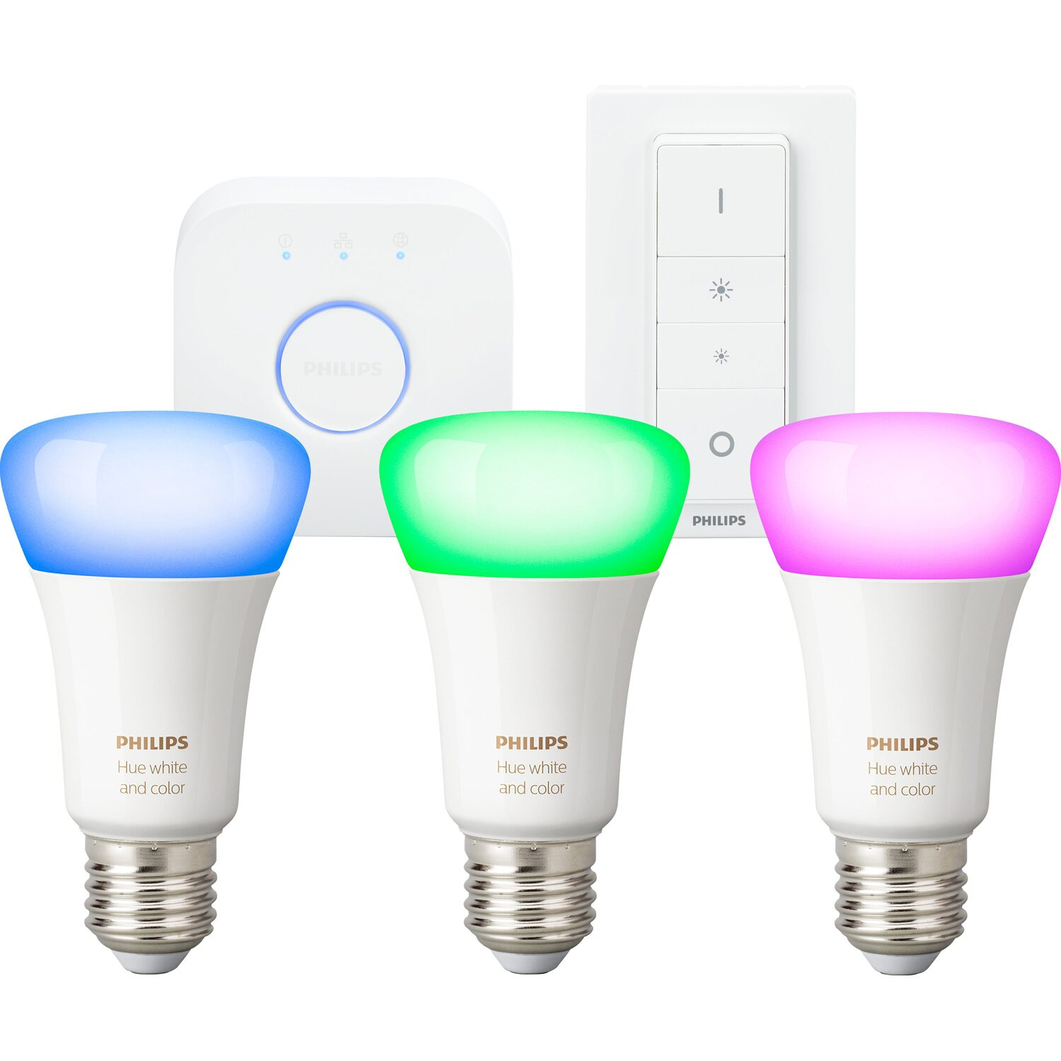 Philips Hue White & Color Ambiance E27 LED Lampe Starter Set inkl. Dimmschalter