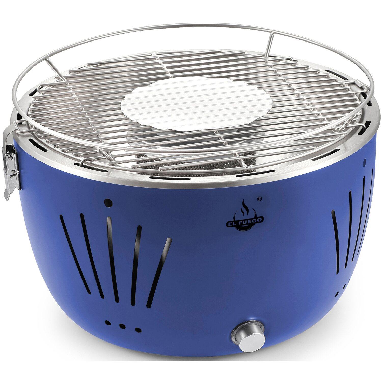 el fuego holzkohle tischgrill tulsa 32 cm blau raucharm kaufen bei obi. Black Bedroom Furniture Sets. Home Design Ideas