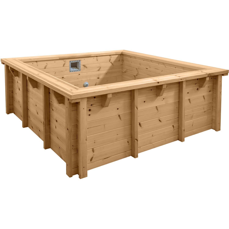 Holzpool set java lxb 2 10 x 2 10 m rechteck h 0 78 m for Holzpool obi