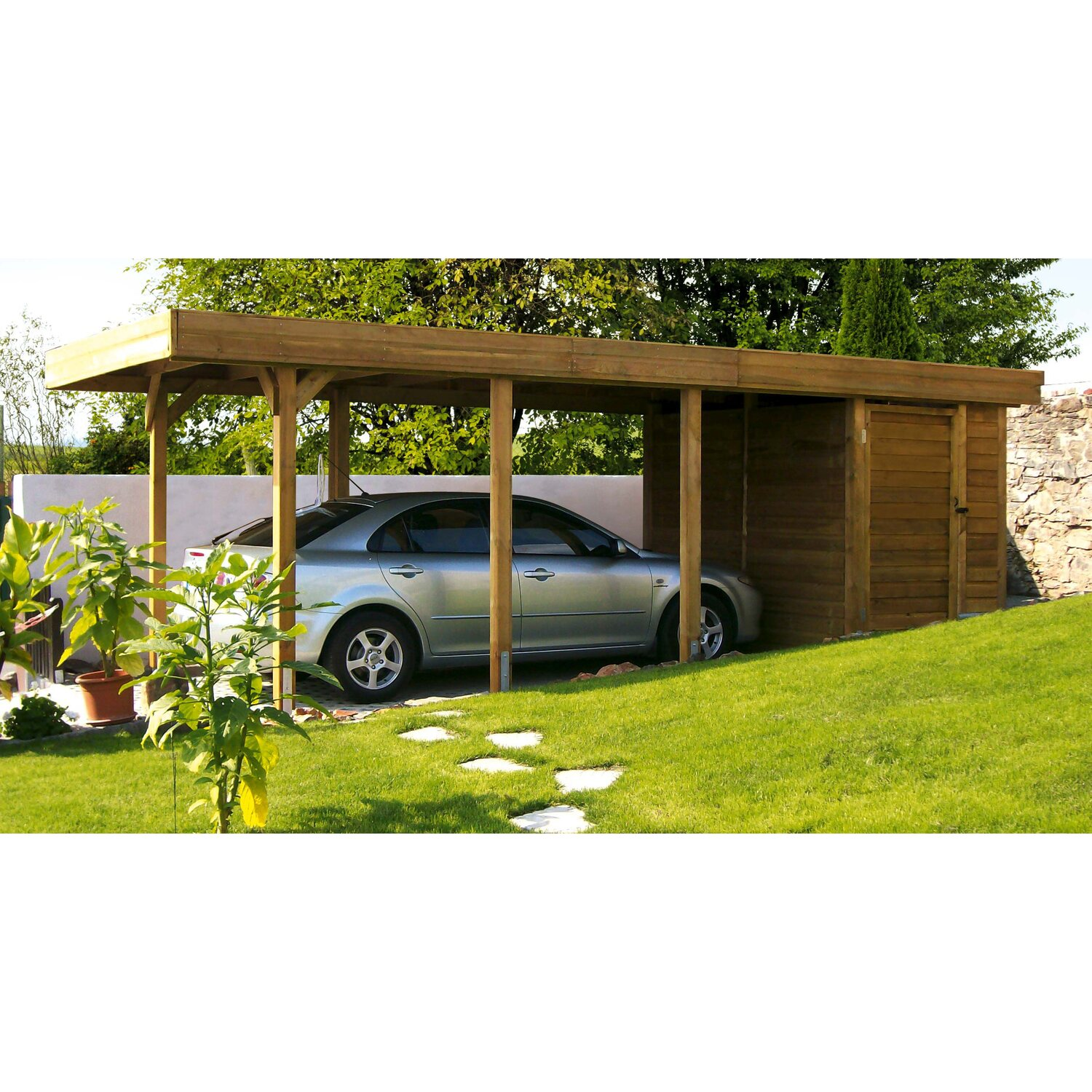 skan holz flachdach einzelcarport profilschalung mit abstellraum 315 cm x 713 cm kaufen bei obi. Black Bedroom Furniture Sets. Home Design Ideas