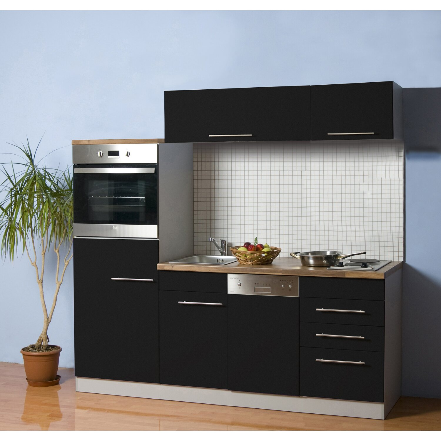 mebasa k chenblock cucina compact 200 cm komplett mit ger ten anthrazit kaufen bei obi. Black Bedroom Furniture Sets. Home Design Ideas