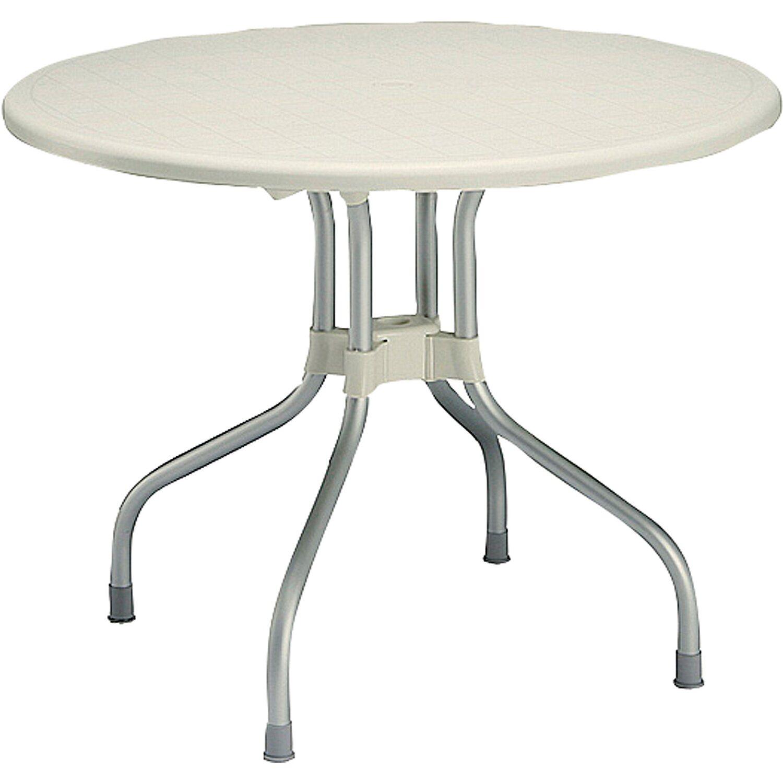 Klapp Gartentisch.Klapp Gartentisch Vegas Rund ø 95 Cm Silber Elfenbein Kaufen