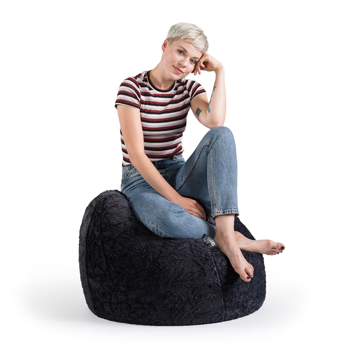 sitting point sitzsack fluffy 120 l schwarz kaufen bei obi. Black Bedroom Furniture Sets. Home Design Ideas