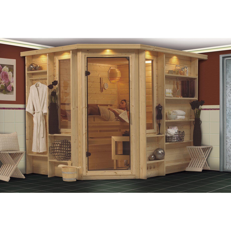 karibu sauna riona 40 mm mit eckeinstieg inkl ganzglast r und regalsystem kaufen bei obi. Black Bedroom Furniture Sets. Home Design Ideas